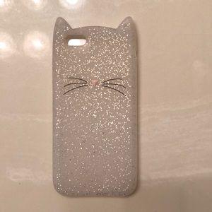 Accessories - iPhone 6/6s cat silver glitter phone case